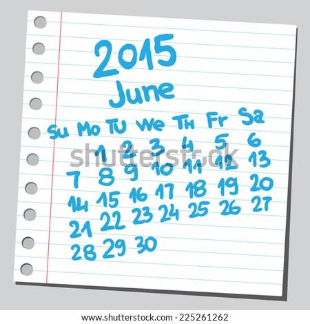 Calendar 2015 june (sketch style)  - stock vector