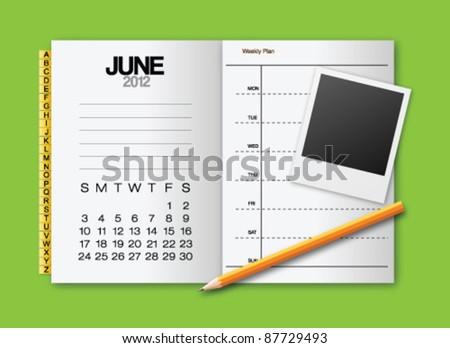 Calendar 2012 June stationery vector - stock vector