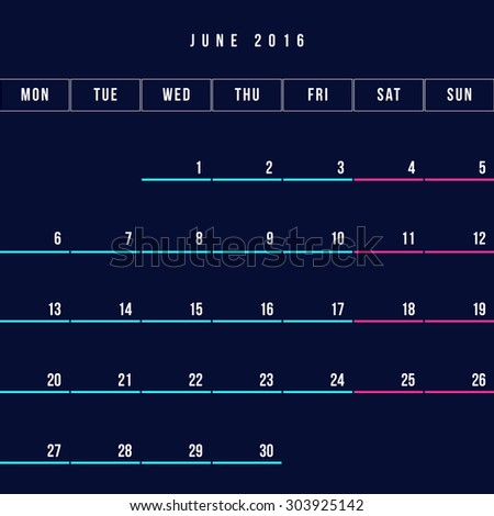 Calendar June 2016 vector design template - Minimalism Style