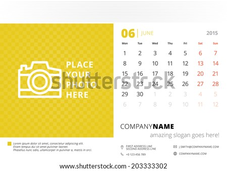 Calendar 2015 June vector design template with place for photo - stock vector