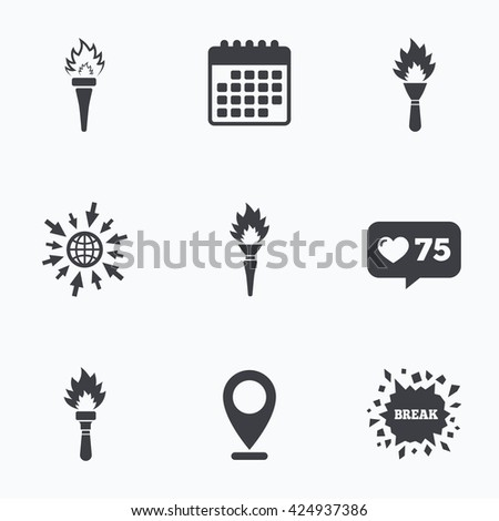 Calendar like counter and go to web icons. Torch flame icons. Fire flaming  sc 1 st  Shutterstock & Olympic Torch Stock Images Royalty-Free Images u0026 Vectors ... azcodes.com