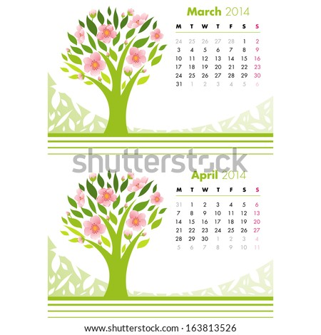 Calendar - March and April Month 2014. Vector