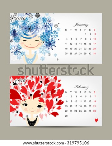 Calendar 2016, march and april months. Season girls design. Vector illustration - stock vector
