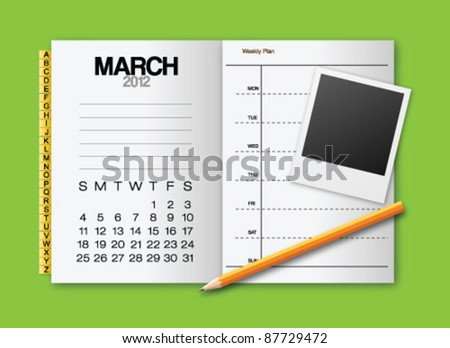 Calendar 2012 March stationery vector - stock vector