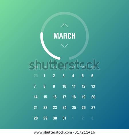 Calendar 2016. March. Week Starts Monday - stock vector