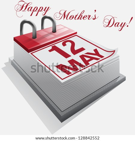 Calendar.12 May. Happy Mother's Day. Vector - stock vector