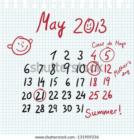 Calendar 2013 may in sketch style on notebook sheet with marked mother's day and cinco de mayo - stock vector