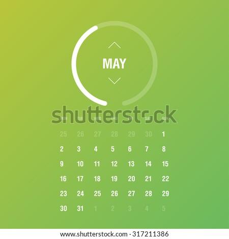 Calendar 2016. May. Week Starts Monday - stock vector