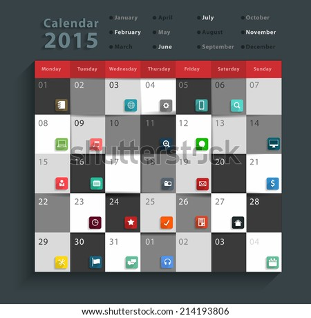 Calendar 2015, Modern business flat icons set abstract info graphic design banner template workflow layout, diagram, step up options, Vector illustration - stock vector