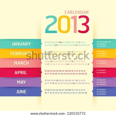 calendar 2013 modern soft color,vector - stock vector