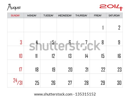 Calendar month of august 2014 in English - stock vector