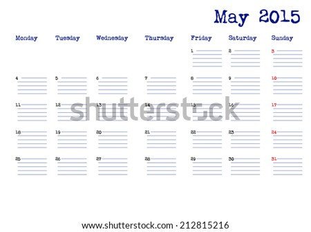 Calendar month of may 2015
