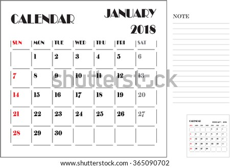 calendar monthly plan, paper design, week starts with Sunday, January 2018