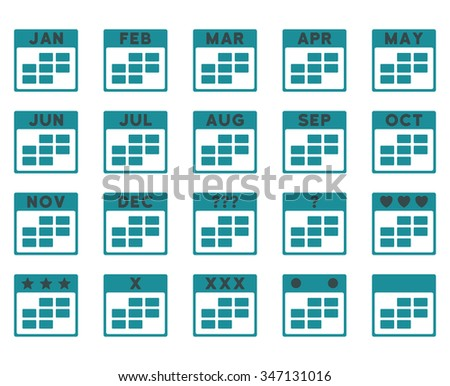 Calendar Months vector icon. Style is bicolor flat symbols, soft blue colors, rounded angles, white background. - stock vector