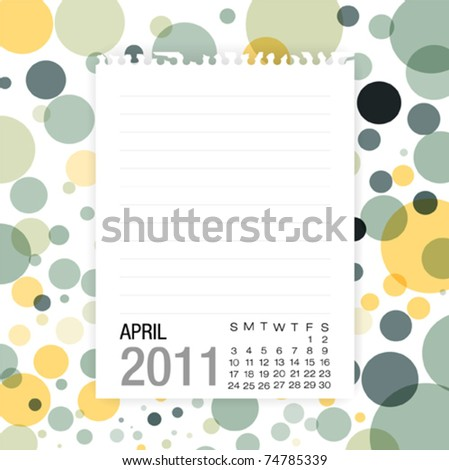Calendar 2011 Note paper on graphic art background .April - stock vector