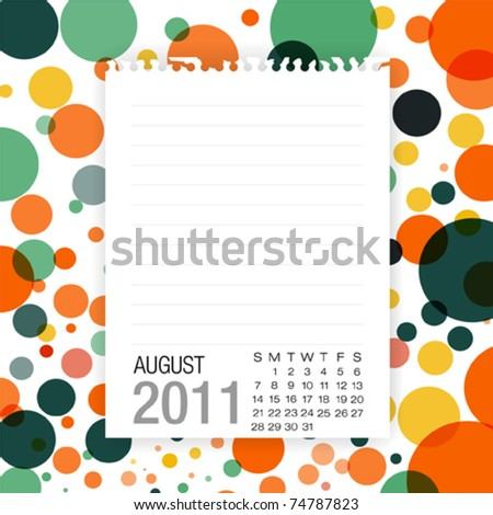 Calendar 2011 Note paper on graphic art background august - stock vector