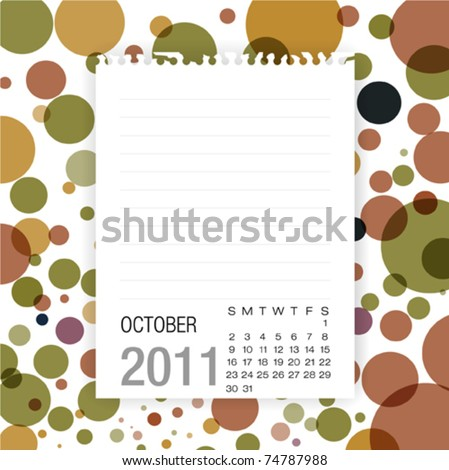 Calendar 2011 Note paper on graphic art background.october - stock vector