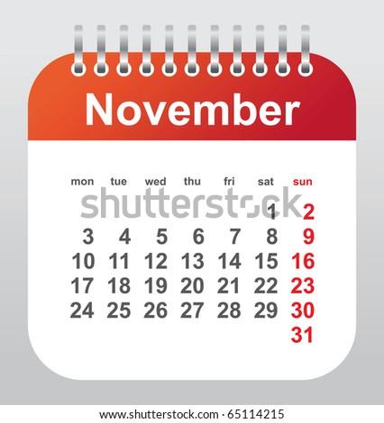 calendar 2011: november - stock vector