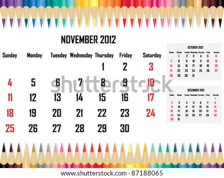 Calendar 2012 November - stock vector