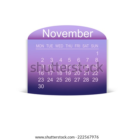 Calendar November 2015. Vector illustration