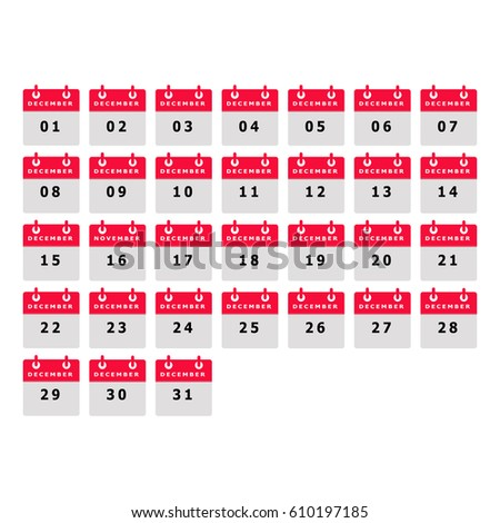 Calendar Number December Month Template Illustrator Stock Vector