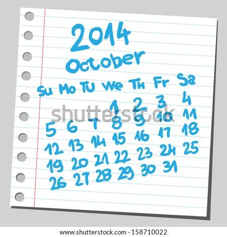 Calendar 2014 october (sketch style)  - stock vector
