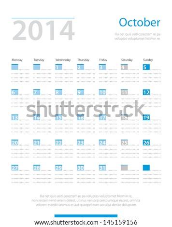Calendar 2014, october. Vector. - stock vector