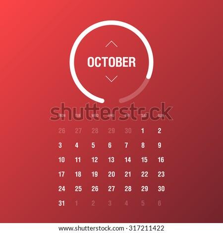 Calendar 2016. October. Week Starts Monday - stock vector