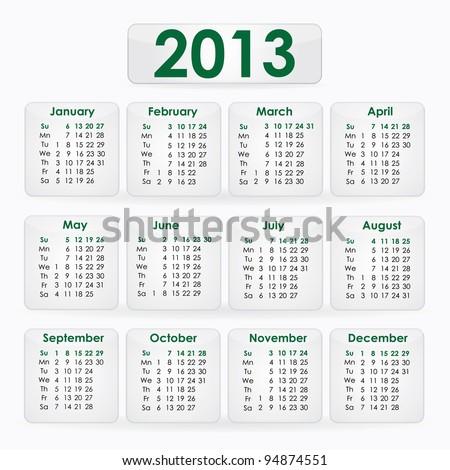 Calendar of 2013 - stock vector