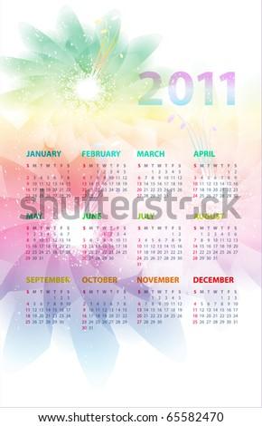 Calendar of 2011 for a flower background. Eps10. - stock vector