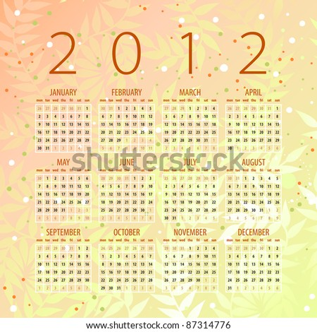 calendar of 2012 with organic background - week starts with monday - stock vector
