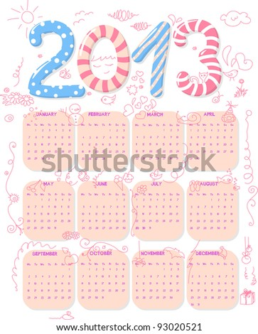 Calendar of year 2013 with cute childish doodle. - stock vector