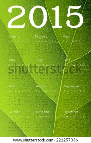Calendar 2015 on green leaf texture. Vector - stock vector