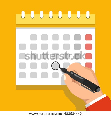 Calendar On Wall Hand Marking One Stock Vector (2018) 483534442 ...