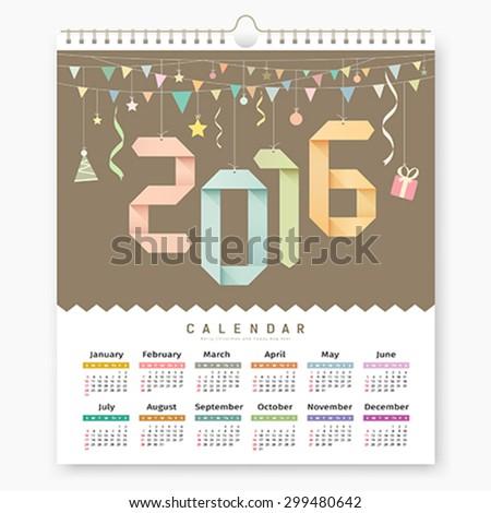 Calendar 2016, Origami paper number design background, vector illustration - stock vector