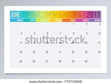 calendar page june 2018