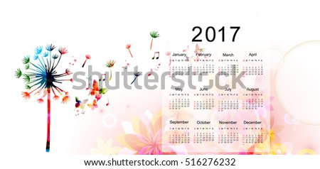Calendar planner 2017 design template with colorful dandelion. Calendar poster, week starts Sunday. Calendar organizer. Calendar isolated, vector illustration background. Monthly calendar layout