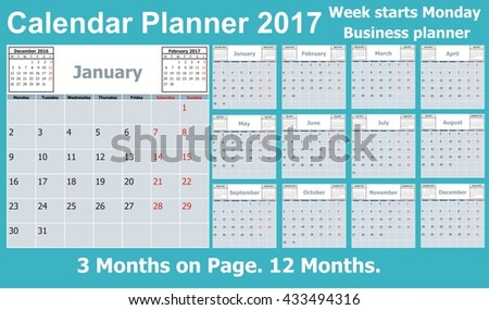 Calendar Planner for 2017 Year. 3 Months on Page. Week Starts Monday. 12 Months. Vector Stationery Design Print Template. Business calendar 2017. - stock vector