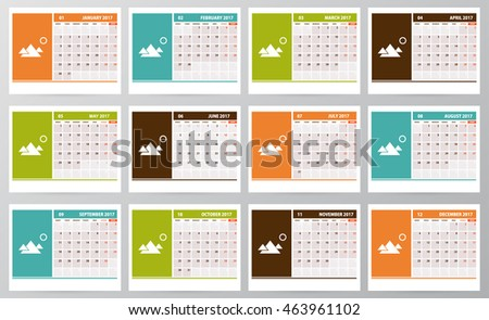 calendar planner for 2017 year with space for photo