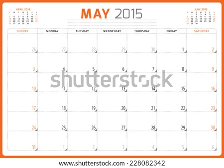 Calendar planner 2015 template week starts sunday vector illustration May month - stock vector