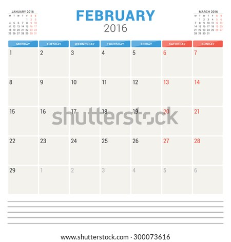 Calendar Planner 2016. Vector Flat Design Template. February. Week Starts Monday - stock vector
