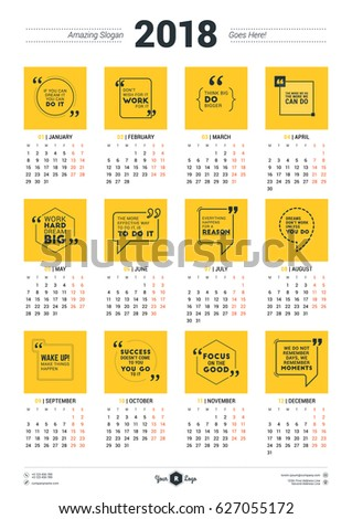 Calendar Poster Template for 2018 Year. Week starts Monday. Stationery Design. Vector Calendar with Motivational Quotes