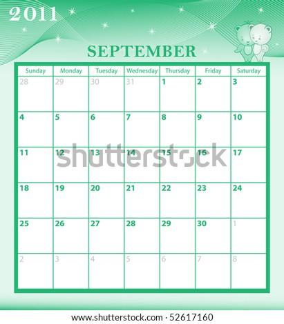 September Calendar Calendar 2011 September Month