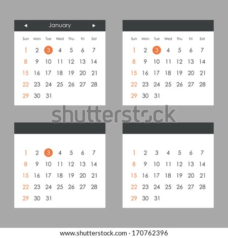Calendar set. Vector illustration - stock vector
