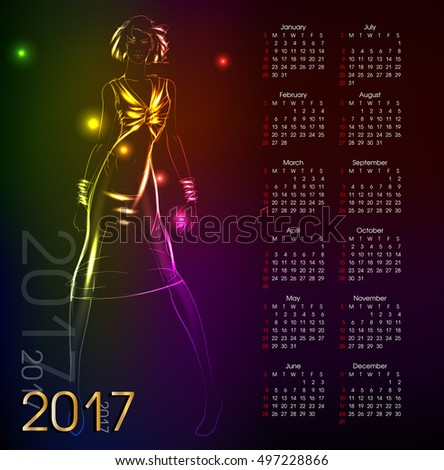 Calendar 2017. Sketch. Fashion model from a neon. A light girl's