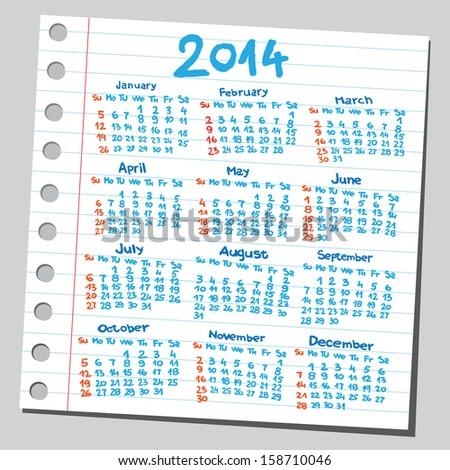 Calendar 2014 (sketch style)  - stock vector
