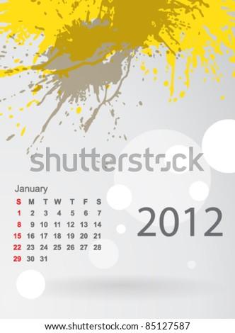 Calendar 2012 splashes of colour, January - stock vector