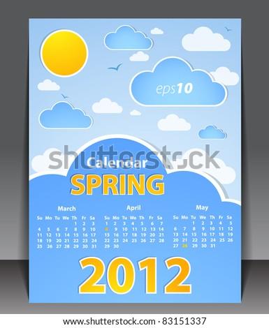 Calendar 2012 - Spring - stock vector