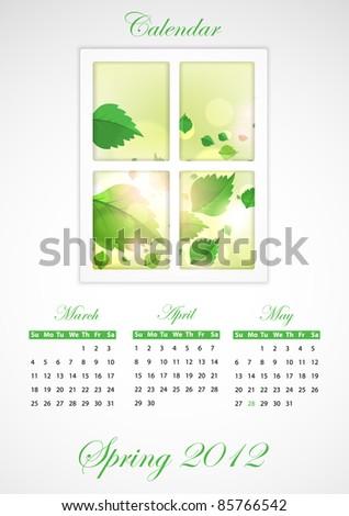 Calendar. Spring 2012 - stock vector