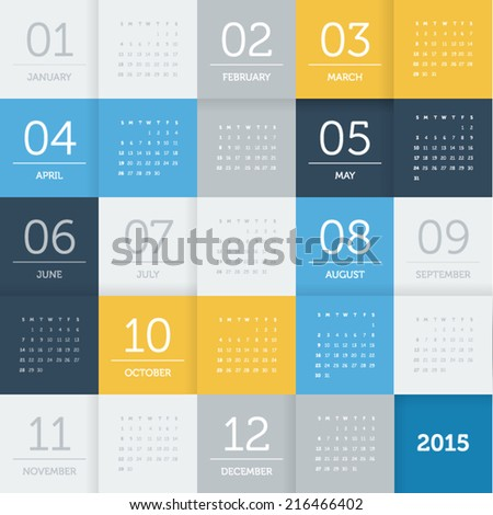 Calendar 2015 - square pattern - flat color - stock vector
